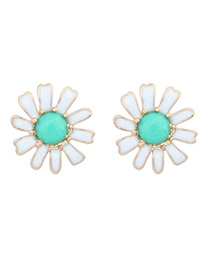 Stretch Green Gemstone Decorated Flower Design Alloy Stud Earrings