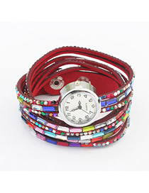 Lush Red Diamond Decorated Multilayer Design Alloy Ladies Watches
