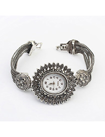Eatable Silver Color Diamond Decorated Flower Design Alloy Ladies Watches