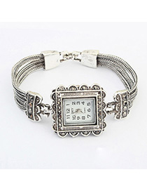 Claddagh Silver Color Diamond Decorated Square Shape Design Alloy Ladies Watches