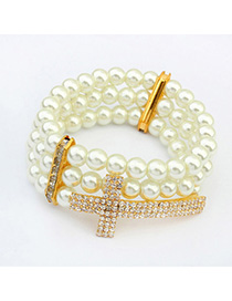 Boxed White & Champagne Gold Cross Decorated Pearl Multilayer Design Alloy Korean Fashion Bracelet