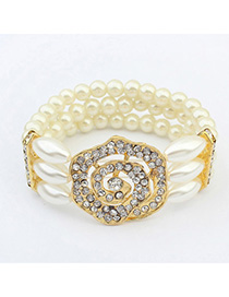 Extreme White & Champagne Gold Rose Decorated Pearl Multilayer Design Alloy Korean Fashion Bracelet