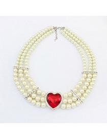 Simple Red Heart Shape Design Pearl Multilayer Design Alloy Korean Necklaces