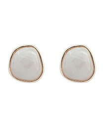 Glueless Gray Irregular Shape Decorated Simple Design Alloy Stud Earrings
