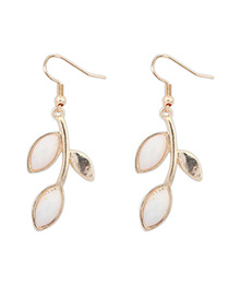 Executive Beige Leaf Shape Decorated Simple Design Alloy Korean Earrings