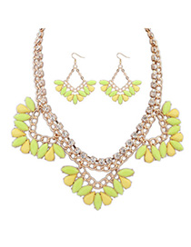 Bendable Yellow Gemstone Decorated Triangle Shape Design Alloy Jewelry Sets