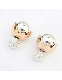 Maturnity Silver Color Diamond Decorated Simple Design Alloy Stud Earrings