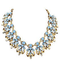 Portable Light Blue Diamond Decorated Bee Shape Design Alloy Bib Necklaces