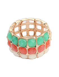 Standard Multicolor Square Gemstone Decorated Multilayer Design Alloy Fashion Bangles