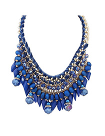 Polaris Blue Gemstone Decorated Tassel Waeve Design Alloy Bib Necklaces