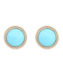 Extra Blue Candy Color Round Shape Simple Design Alloy Stud Earrings