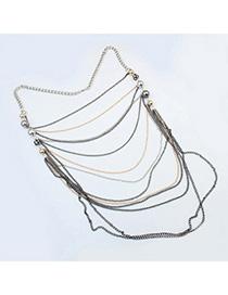 Ferret Gun Black Chain Decorated Multilayer Design Alloy Korean Necklaces