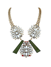 Homemade White Diamond Decorated Symmetrical Design Alloy Bib Necklaces