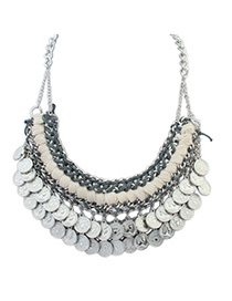 Smart Ancient Silver Coins Shape Decorated Weave Design Alloy Bib Necklaces