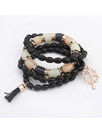 Standard Black Clover Shape Decorated Multilayer Design Alloy Korean Fashion Bracelet