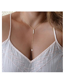 Quicksilve Gold Color Triangle Shape Decorated Simple Design Alloy Chains