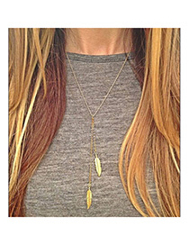 Faux Gold Color Leaf Shape Decorated Simple Design Alloy Chains