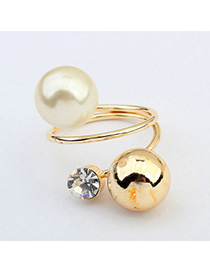 Blank Gold Color Pearl Decorated Simple Design Alloy Korean Rings
