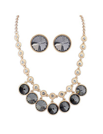 Venetian Black Diamond Decorated Round Shape Design Alloy Jewelry Sets