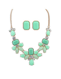 Renaissanc Green Gemstone Decorated Waterdrop Shape Design Alloy Jewelry Sets