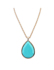 Coral Blue Gemstone Decorated Waterdrop Pendant Design Alloy Korean Necklaces