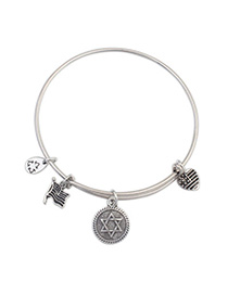 Rosary Silver Color Round Shape Decorated Simple Design Alloy Fashion Bangles