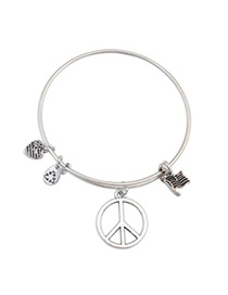 Stationary Silver Color Peace Pattern Decorated Simple Design Alloy Fashion Bangles