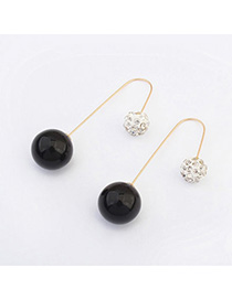 trendy Black Diamond Decorated Round Shape Design Alloy Korean Earrings