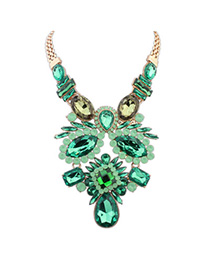 Fashion Green Diamond Decorated Flower Design Alloy Bib Necklaces