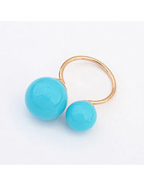 Korean Blue Round Ball Decorated Simple Design Alloy Korean Rings