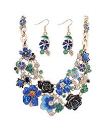 charming Blue Flower Shape Decorated Simple Design Alloy Jewelry Sets