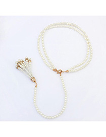 Elegant White Pearl Decorated Double Layer Design Alloy Fashion Necklaces