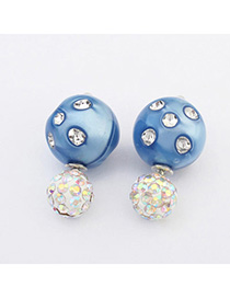 Joker Blue Diamond Decorated Round Shape Design Alloy Stud Earrings