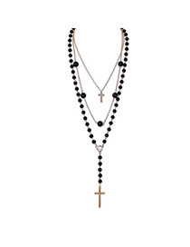 Vintage Black Beads Decorated Cross Shape Design Alloy Chains