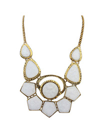 Bohemia White Gemstone Decorated Geometrical Shape Design Alloy Bib Necklaces