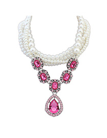 Extravagant Plum Red Pearl Decorated Waterdrop Shape Pendant Design Alloy Beaded Necklaces