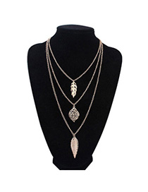 Hot Sale Gold Color Leaf Shape Decorated Multilayer Design Alloy Korean Necklaces