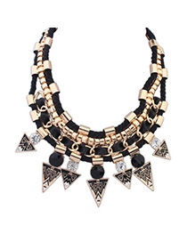 Punk Black Diamond Decorated Triangle Shape Weave Design Alloy Bib Necklaces