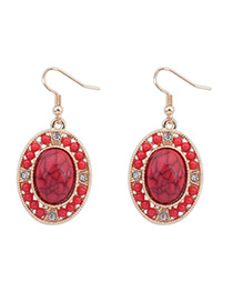 Antique Red Gemstone Decorated Oval Shape Design Alloy Korean Earrings