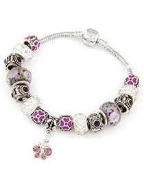 Gorgeous Purple Diamond Decorated Butterfly Shape Design Alloy Fashion Bracelets
