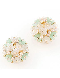 Lovely Beige & Green Diamond Decorated Flower Design Alloy Stud Earrings
