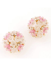 Lovely Beige & Pink Diamond Decorated Flower Design Alloy Stud Earrings
