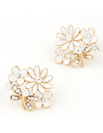 Elegant White Diamond Decorated Flower Design Alloy Stud Earrings