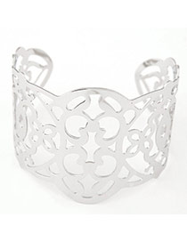 Joker Silver Color Flower Decorated Hollow Out Design Alloy Fashion Bangles