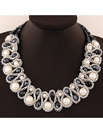 Luxurious White & Gray Beads Decorated Weave Design Alloy Bib Necklaces