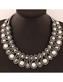 Luxurious White & Gun Black Beads Decorated Weave Design