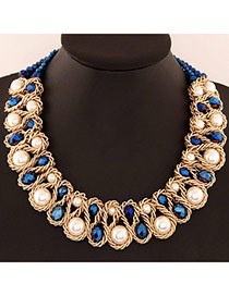 Luxurious White & Blue Beads Decorated Weave Design Alloy Fashion Necklaces