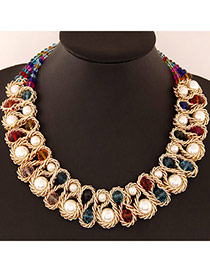 Luxurious Multicolor Beads Decorated Weave Design Alloy Bib Necklaces