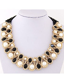Luxurious Black & White Beads Decorated Weave Design Alloy Bib Necklaces