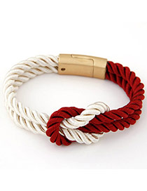 Personalized White & Red Weave Simple Design